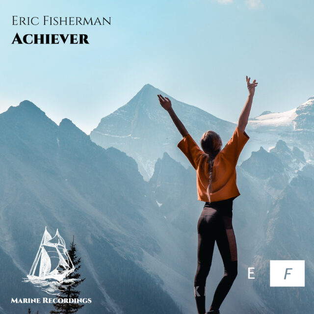 The cover of 'Achiever' showing a young woman on the top of a mountain, raising her hands up.